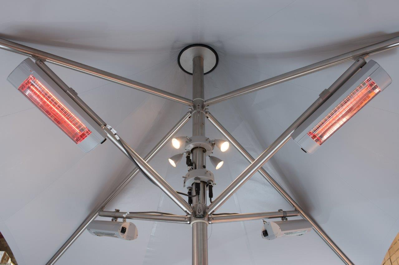 heat and light on vortex parasols